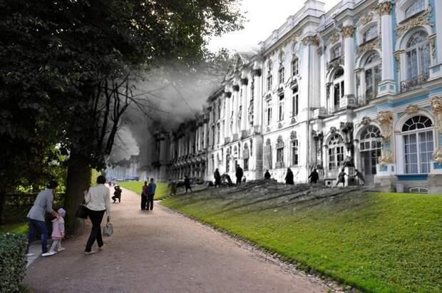 Пушкин 1941-2011 Екатерининский дворец.Оставшиеся в оккупации жители Пушкина пытаются потушить горящий дворец блокада, ленинград, победа