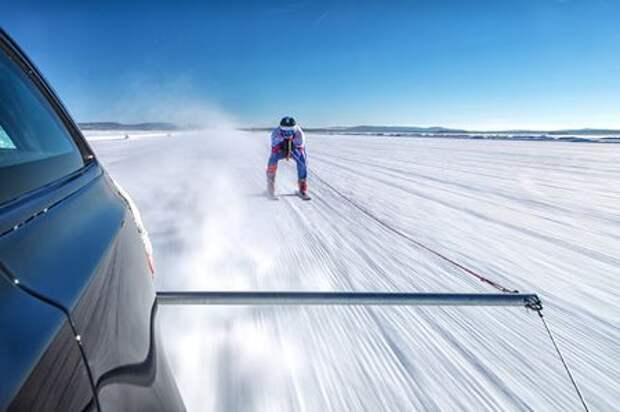 Jaguar установил мировой рекорд... по разгону лыжника