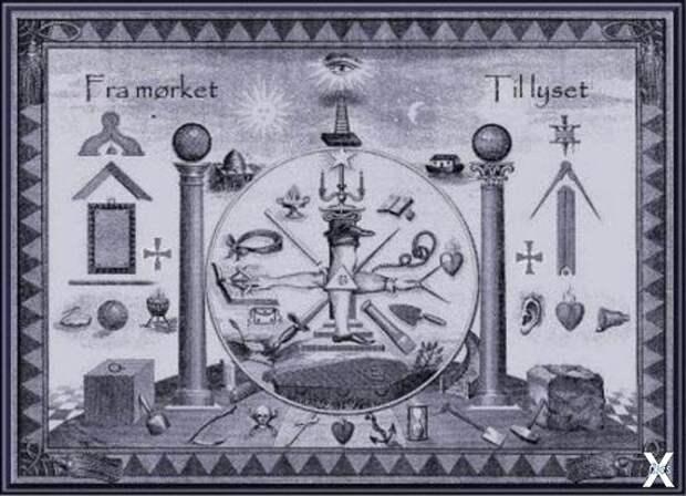 Символы масонов. Иллюстрация из книги...