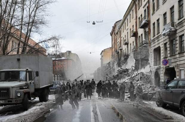 Ленинград 1942-2010 Боровая 26. После попадания авиабомбы и пожара блокада, ленинград, победа