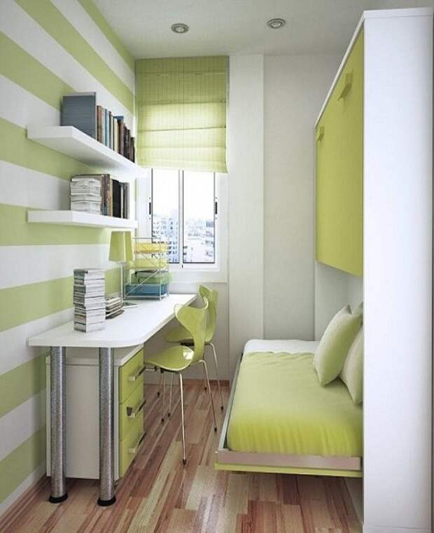Кровать, которую можно спрятать за ненадобностью в шкаф – идеальный вариант для маленьких комнат. | Фото: intaer.ru.
