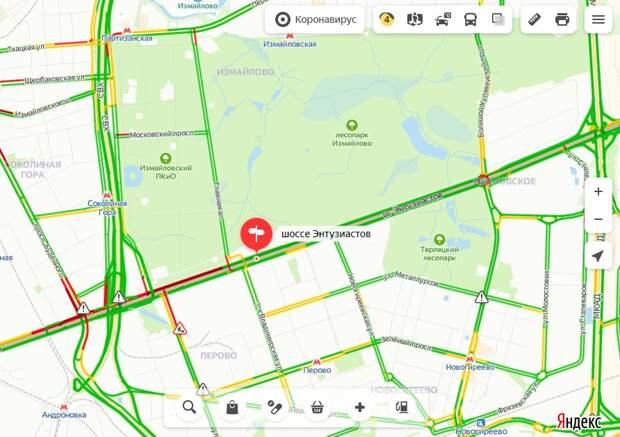 Ситуация на дорогах: загруженность шоссе Энтузиастов в среду утром — 4 балла