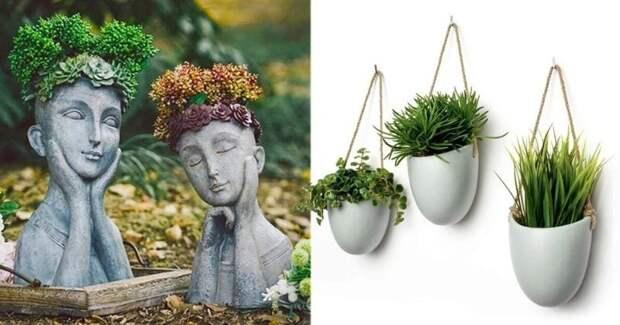 15 необычных цветочных горшков для украшения дома и сада