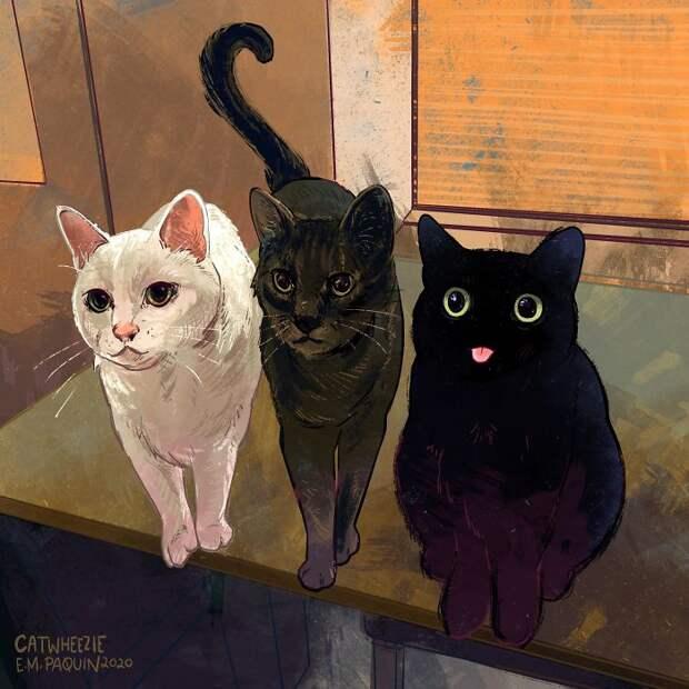 Меньше чем через 20 дней число нарисованных кошек достигнет сотни.