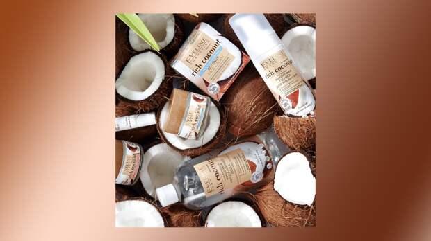 Райское наслаждение: замедляет старение, увлажняет кожу и переносит мыслями в тропики - все о кокосе в составе новой коллекции ухода для лица от Eveline Cosmetics