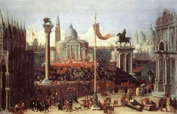 Вообажаемый пейзаж со зданиями Венеции