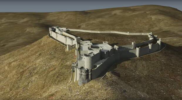 Замок состоит из двух частей: сильно укреплённой цитадели в южной части плато и примыкающей к ней с севера внешней части укреплений, где прежде располагалось обширное поселение. Одна часть отделялась от другой выдолбленным в скале рвом с водой и крепостной стеной с особыми воротами - Свидетель крестовых походов   Warspot.ru