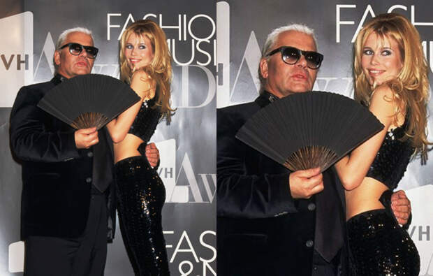 Карл Лагерфельд и Клаудия Шиффер на премии VH1 Fashion Awards, 1995