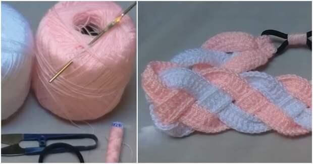 Оригинальная повязка: элементарное вязание + необычная сборка