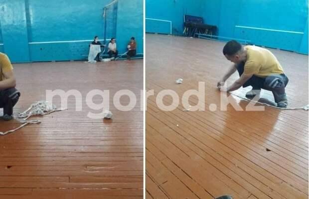 Учителя заделывают дыры в капитально отремонтированной школе Атырау