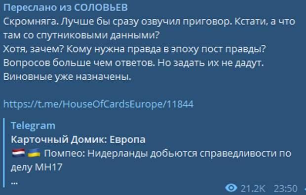 """""""Виновные уже назначены"""": Соловьёв не питает больших надежд на суд по делу MH17"""