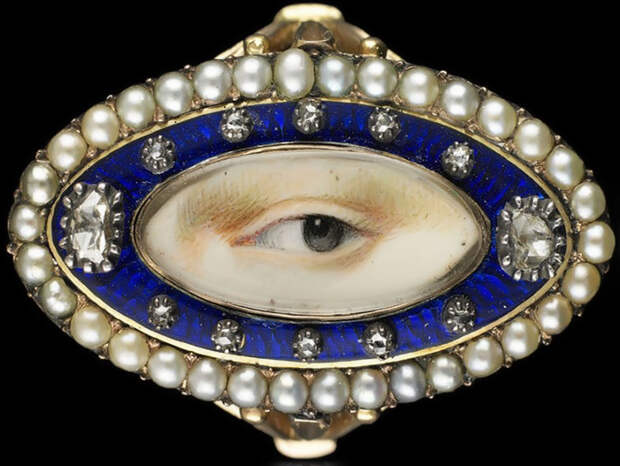 Золотое кольцо с миниатюрой Lover's eye, 1790 год.