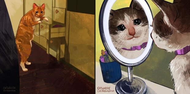 Студентка так хотела иметь котенка, что нарисовала 100 котов из мемов