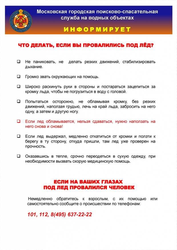 Московские спасатели проинформировали горожан об основах безопасного поведения на льду