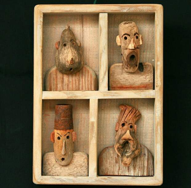 Портреты из коряг и морского дерева