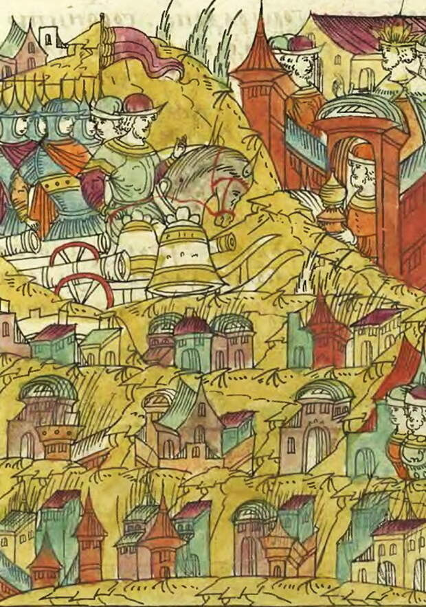 Русские полки возвращаются домой из похода. Миниатюра из Лицевого свода - Царская месть | Warspot.ru