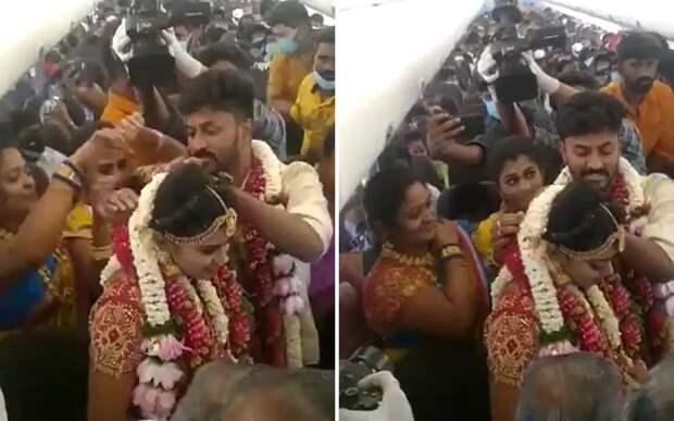 Пара из Индии устроила необычную свадьбу: она проходила на борту самолета