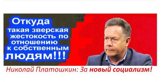 cover photo, На изображении может находиться: 1 человек, часть тела крупным планом, текст «откуда такая зверская жестокость по отношению к собственным людям!!! николай платошкин: за новый социализм!»
