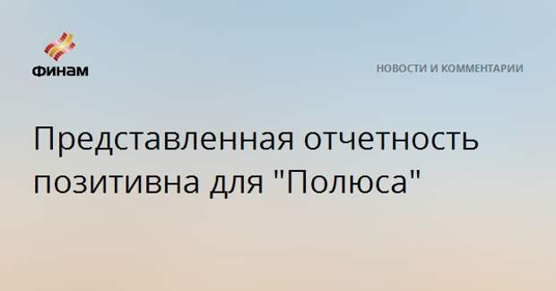 """Представленная отчетность позитивна для """"Полюса"""""""