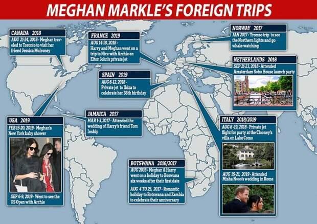 Отбирали ли паспорт у Меган Маркл: в сети подсчитали число ее путешествий во время жизни во дворце