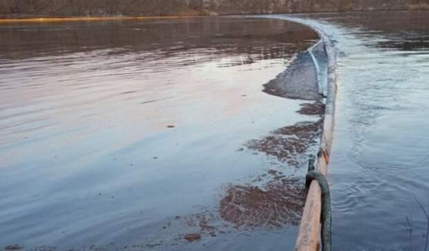 Река Колва вНАО покрылась радужной пленкой