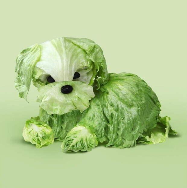 """Художник Хельга Штентцель. Подпись: .""""Не знаю, как это произошло, но по-моему я съела собаку на ужин..."""""""