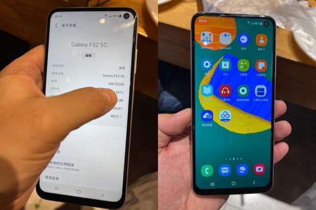 В сеть утекли изображения Galaxy F51 5G: «дырявый» дисплей, квадро-камера и характеристики, как у Galaxy A52 5G