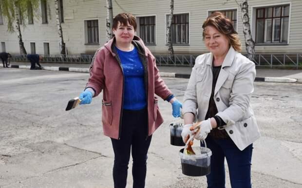 Глава Сасова покрасила бордюры в городе