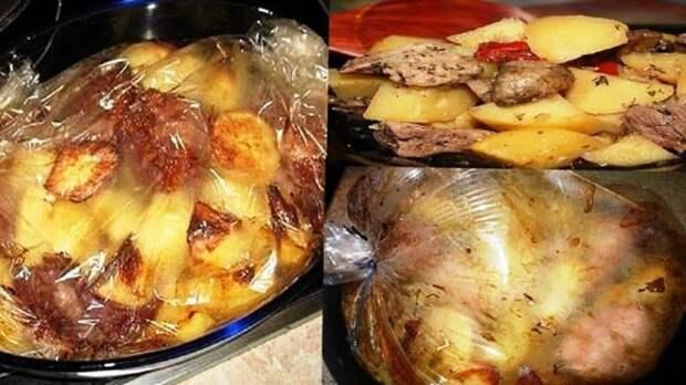 Картофель с мясом запеченный в рукаве