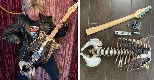 «Я вернул его к жизни»: американский рокер сделал гитару из скелета своего дяди
