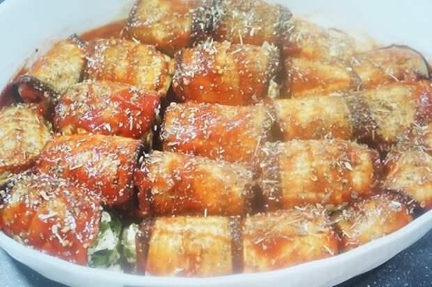 Фото к рецепту: Рулеты из баклажанов