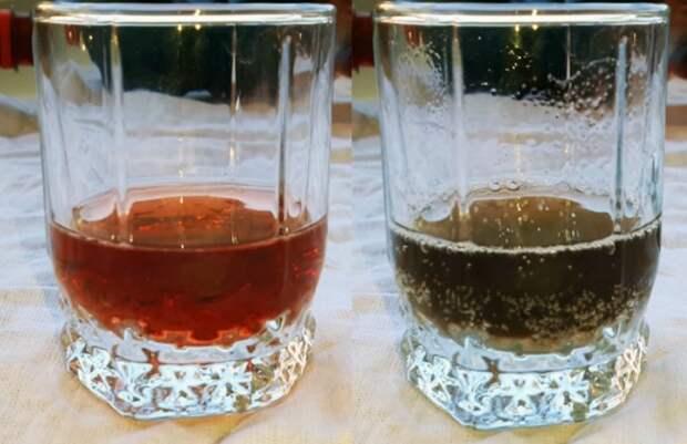 Натуральное вино после реакции с содой потемнеет или посереет / Фото: sovet-ok.ru