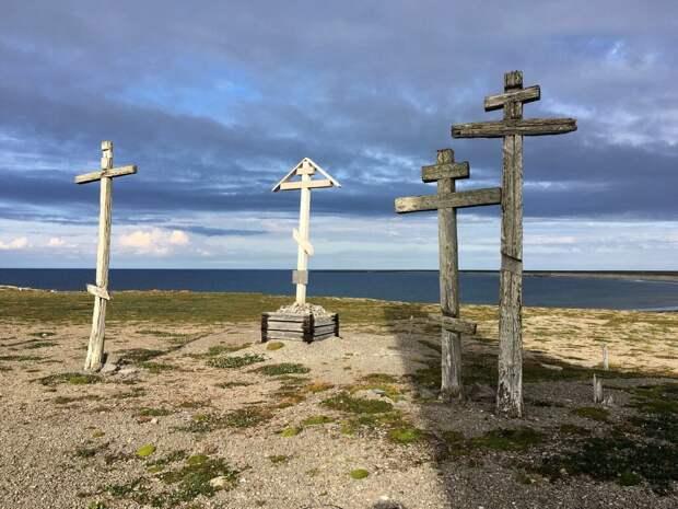 Сохранившиеся старинные поморские кресты на острове Матвееве. В середине – новодел: памятный крест МАКЭ, установленный в 2014 году. Фото Ивана Мизин
