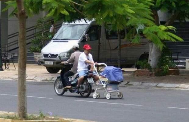 Прогулка ребёнка нового уровня дорога, прикол, фото, юмор