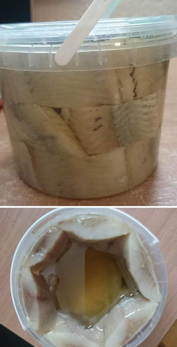 Экономно упакованная селедка еда, кругом обман, продукты