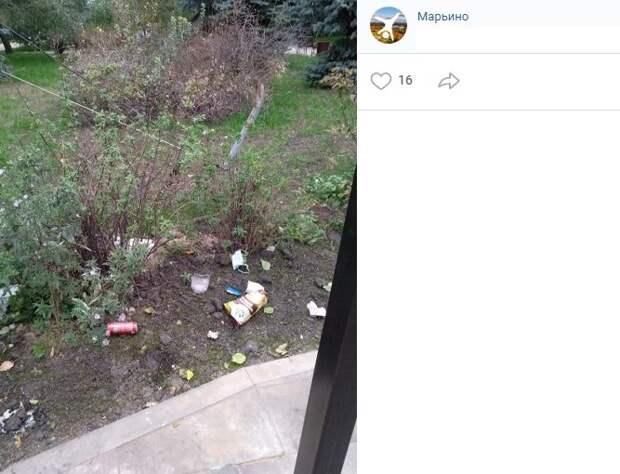 За нечистоплотными жителями Марьина прибрали коммунальщики