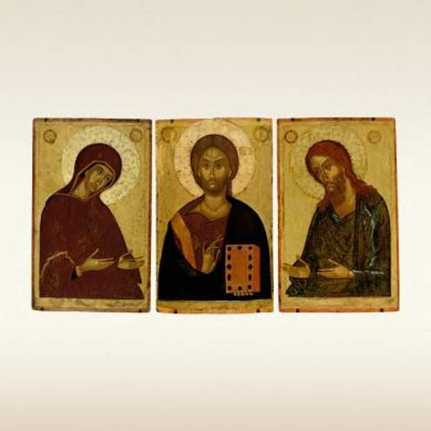 Икона-триптих ДЕИСУСНЫЙ ЧИН. Первая половина 15 века