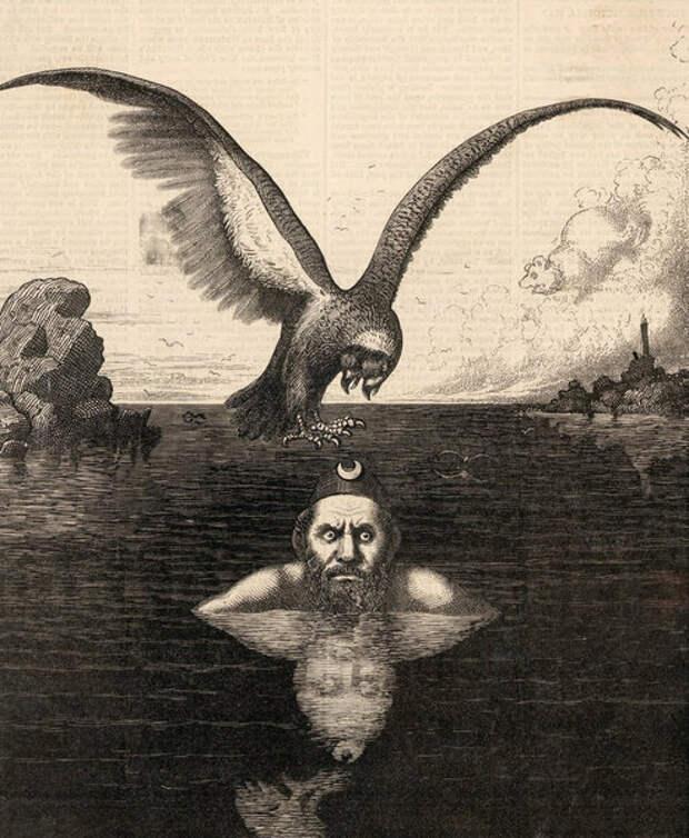 Положение на Черном море. Карикатура, 1877 год © Двуглавый орел символизирует страны черноморского региона, на заднем плане медведь, обозначающий Россию