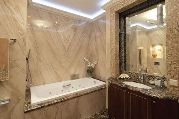 Мрамор в интерьере ванной фото