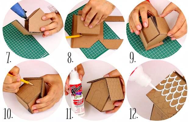 """Елочные игрушки - """"Пряничные домики"""" из картона своими руками"""
