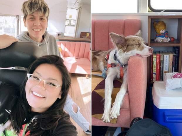 Кристина Салдана, Кэти Марискал и их собака Лолита живут вместе в переоборудованном школьном автобусе.