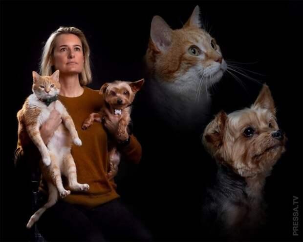 Необычные семейные фотографии домашних животных и их владельцев
