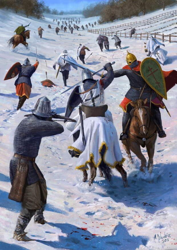 Русские воины преследуют отступающих ливонских рыцарей во время Раковорской битвы. Рисунок художника Милека Якубца, 2013 год