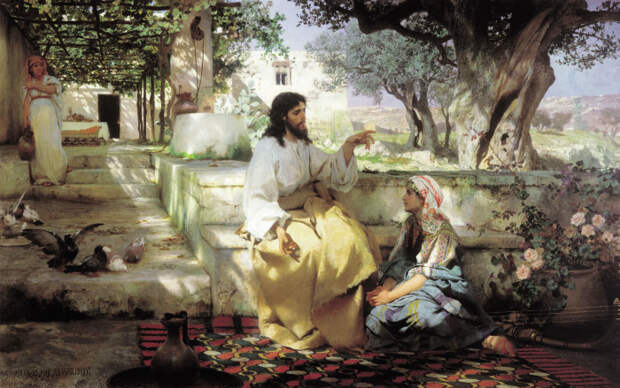 Христос у Марфы и Марии, Генрих Ипполитович Семирадский, 1886 год. \ Фото: bijbelin1000seconden.be.