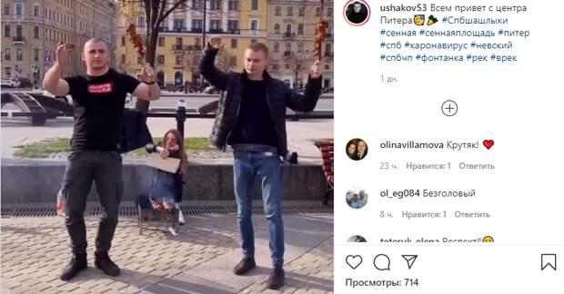 Полиция проверит видео блогеров, жаривших шашлыки в центре Петербурга