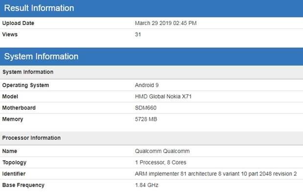 Смартфон Nokia X71 «засветился» в бенчмарке с процессором Snapdragon 660