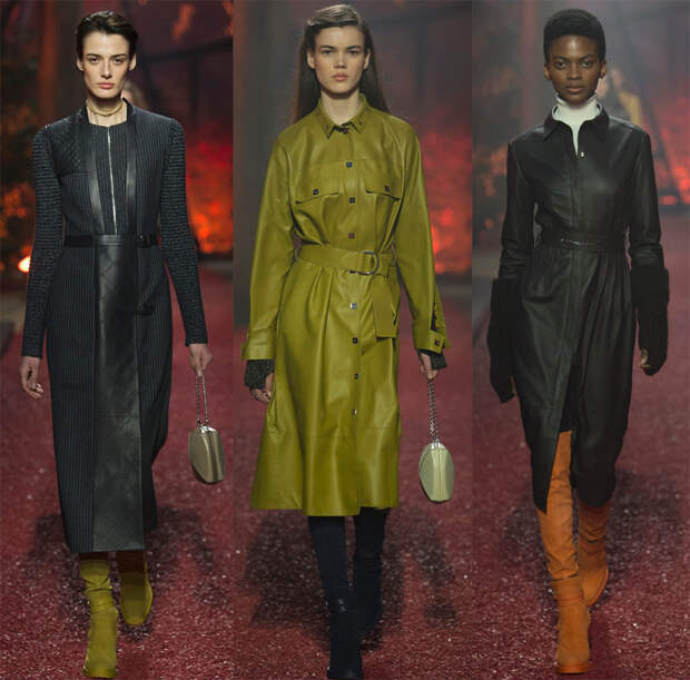 Кожаные платья и модели с кожаными вставками 18-19