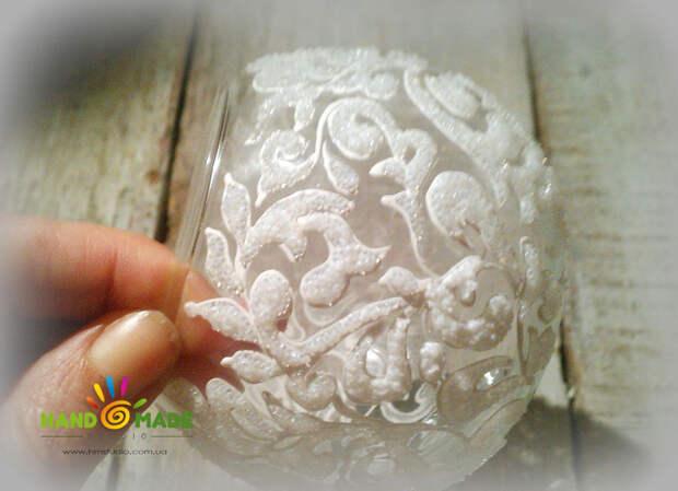 Морозный узор на вазе своими руками