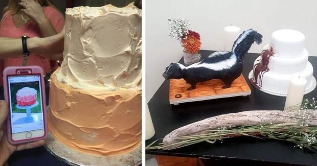40 забавных, а чаще попросту неудачных свадебных тортов