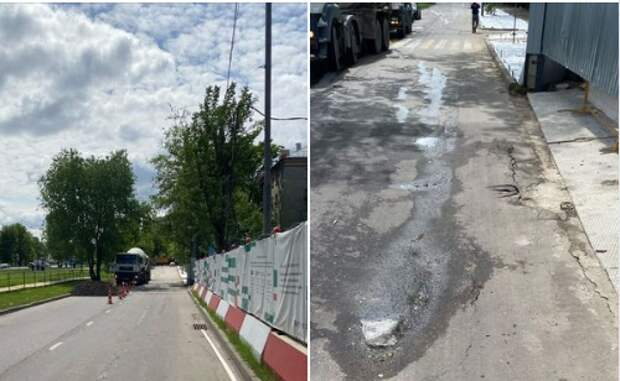На Дмитровском шоссе устранили провал на дороге